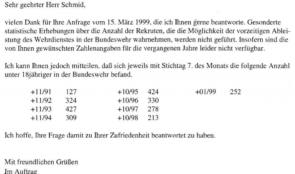 Zahler der Bundeswehr über minderjährige Rekruten